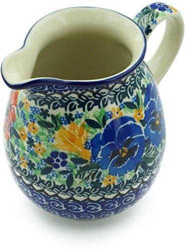 Polish Pottery 16 oz Pitcher made by Ceramika Artystyczna (Pansy Pair Garden Theme) Signature UNIKAT + Certificate of Authenticity