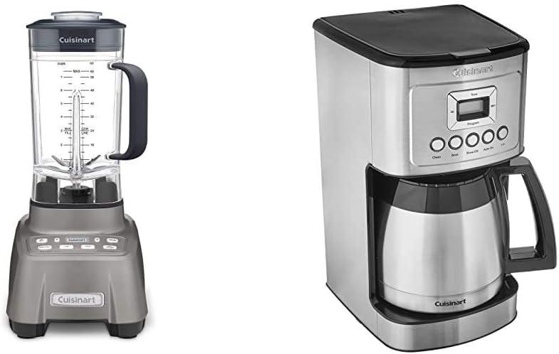 Cuisinart Hurricane Blender, 2.25 Peak, Gun Metal & Stainless Steel Thermal Coffeemaker, 12 Cup Carafe, Silver
