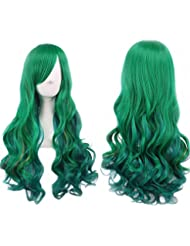 Green Wig Halloween Costumes for Women Long Curly Hair Wigs Harajuku Lolita  Cosplay Wig with Bangs 7e5090a30f5a