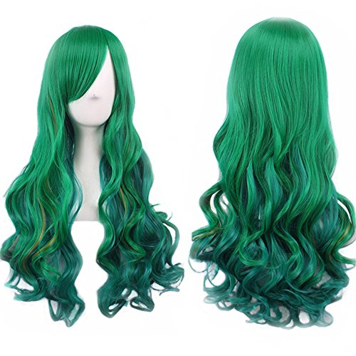 (Green Wig Halloween Costumes for Women Long Curly Hair Wigs Harajuku Lolita Cosplay Wig with Bangs Heat Resistant Synthetic Wigs 27.5 Inch By Bopocoko)