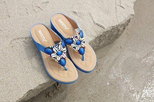 para Verano Mujeres con Verano Bohemia Sandalias Planas Azul de Sandalias de de Cuero de Separador de Sandalias Topcloud Dedos wqxvXSq