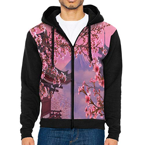 Men Hoodie Cherry Blossom Designer Full Zip with Pocket Jackets Lightweight Decor