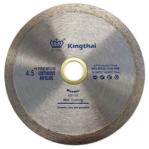 Kingthai 4 1/2 Inch Tile Continuous Rim Diamond Saw Blade for Cutting Ceramic Porcelain,Wet Cutting, 7/8″-5/8″ Arbor