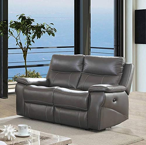 - Esofastore Contemporary Reclining Sofa Loveseat 2pc Sofa Set Living Room Furniture Gray Leather Upholstered Padded Cushion Couch