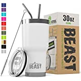 BEAST 30 oz White Tumbler Stainless Steel Insulated Coffee Cup with Lid, 2