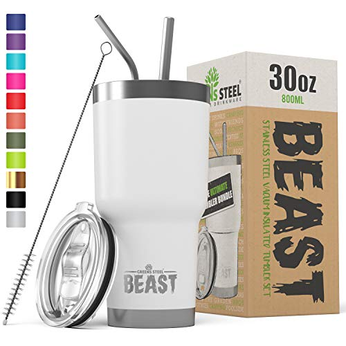 BEAST 30 oz White Tumbler Stainless Steel Insulated Coffee Cup with Lid, 2 Straws, Brush & Gift Box by Greens Steel (30 oz, Arctic White)