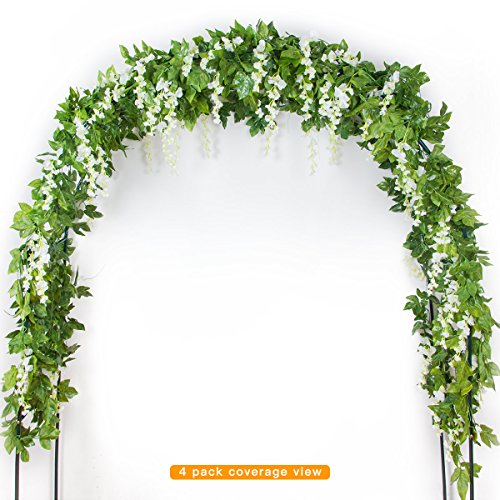 Mavee 4 Pcs 7.2Ft Artificial Flower Vine Silk Wisteria Garland Hanging Rattan with Green Ivy Leaf for Wedding Garden Party Home Decoration (White) - Leaf Silk Flower