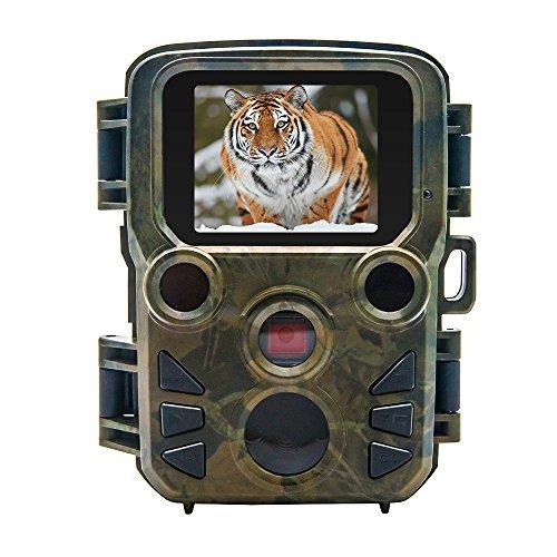 Mini Trail Camera12MP 1080P Digital Wild Game Hunting Video Camera CamcorderOutdoor Wildlife Scouting Hunting Camera Tracker with 60PIR Sensor Infrared Night Vision2.0LCD DisplayIP66 Waterproof