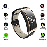 Hangang Fitness Tracker Smart Bracelet Sport tracker Activity Wristband Intelligent Watch health Tracker Heart Rate Blood Pressure Oxygen Monitor For IOS And Android Phone Business Type CK11S-Gold