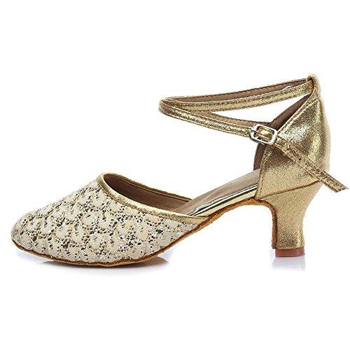 YFF Ballsaal Salsa tango Latin Dance Schuhe Mädchen Frauen ballroom Tango Salsa Latin Dance Schuhe Gold 5cm