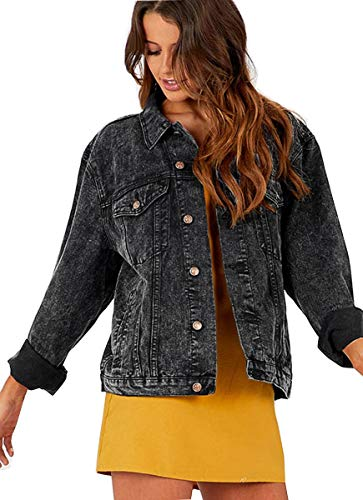 Eliacher Women's Boyfriend Denim Jacket Long Sleeve Loose Jean Jacket Coats (S, Snow Black Washed)
