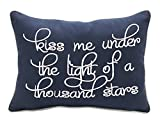 YugTex Pillowcases Kiss me under the light of a thousand stars Embroiderd Throw Pillow covers Christmas gift, Valentines Gifts, Wedding Gifts,Funny gift Woke out (10''x14'', Navy - Kiss)