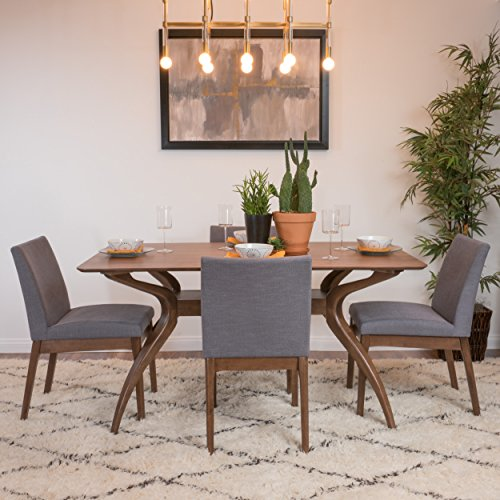 Katherine Dark Grey Fabric/Natural Walnut Finish Curved Leg Rectangular 5 Piece Mid Century Modern Dining Set by GDF Studio (Image #6)