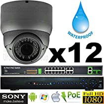 USG Business Grade Sony DSP 12 Camera HD Security System : 1080P 2MP@30FPS IP PoE CCTV Kit : 1x 5MP 32 Channel NVR + 12x OUTDOOR 2.8-12mm Dome Camera with Deep Base + 1x 4TB HD + 1x 18 Port PoE Switch