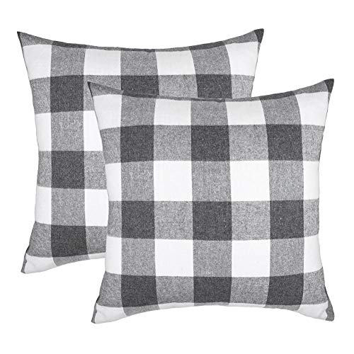 4TH Emotion Set of 2 Farmhouse Buffalo Check Plaid Throw Pillow Covers Cushion Case Cotton Polyester for Sofa Grey and White, 20 x 20 Inches (Stripe Grey Cushion)