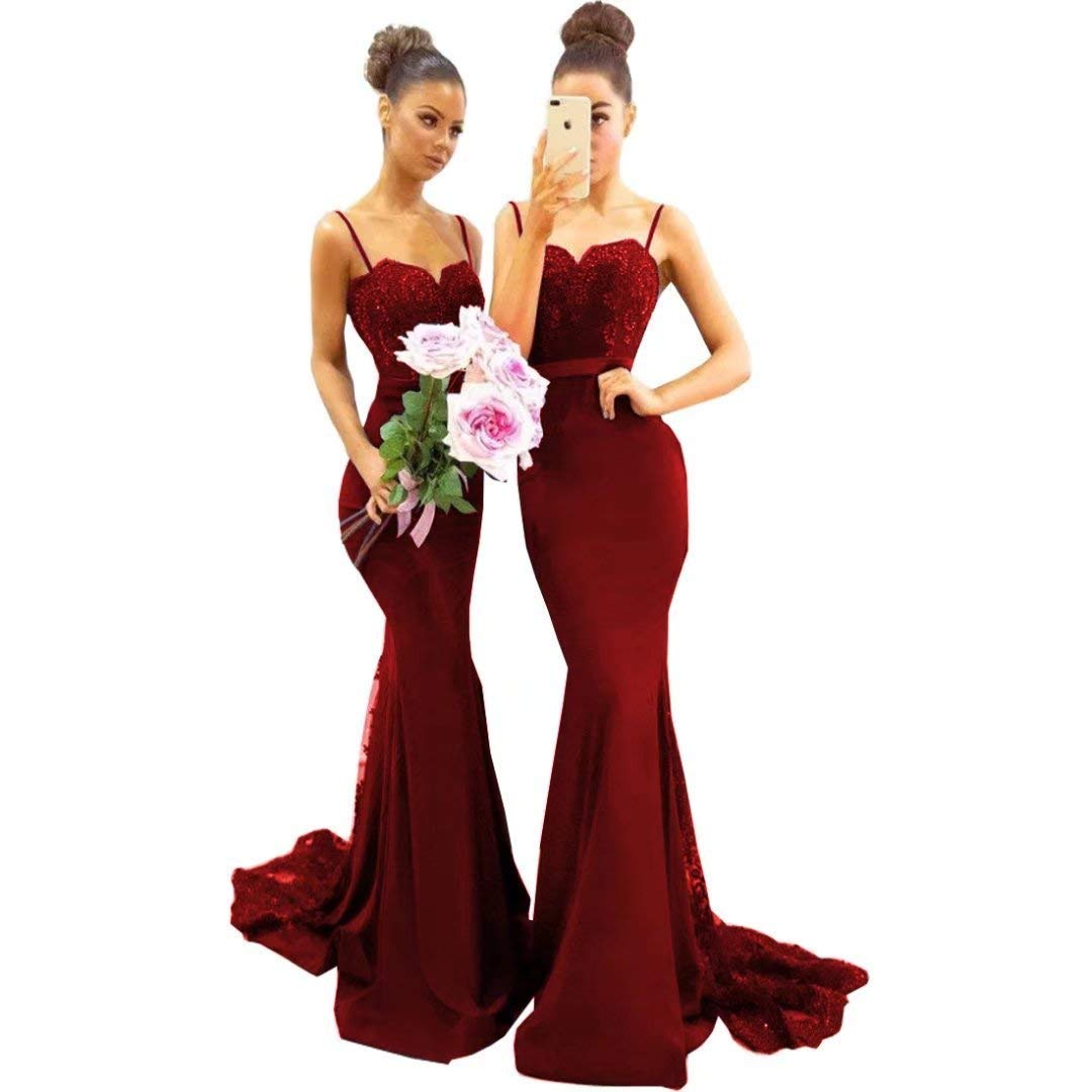 Burgundy Sulidi Women's Mermaid Bridesmaid Dresses Long 2019 Spaghetti Straps Sweep Train Lace Beads Prom Dress C025