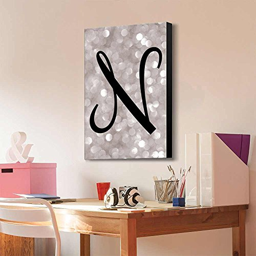 The Letter N in Brush Stroke Cursive on a Champagne Colored Bokeh Background Romantic Elegant Decor