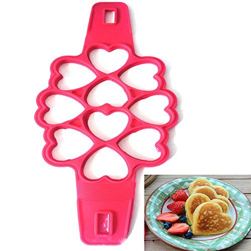 MOSERIN Silicone Pancake Ring,Different Types of Nonstick Pancake Molds, Easy to Make Perfect Pancake (heart-shaped) - 5 Inch Ring Mold