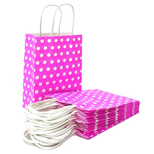 (ADIDO EVA Pink Paper Gift Bags with White Dots Kraft Paper Bags with Handles Goodie Bags for Kid's Birthday Wedding Holiday Party Favor Bags(8.2 x 6 x 3.1 in 25 PCS))