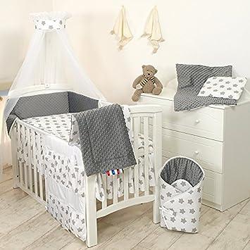 9tlg Babybettwäsche Set 135x100cm 120x60cm Grau Sterne Amazon