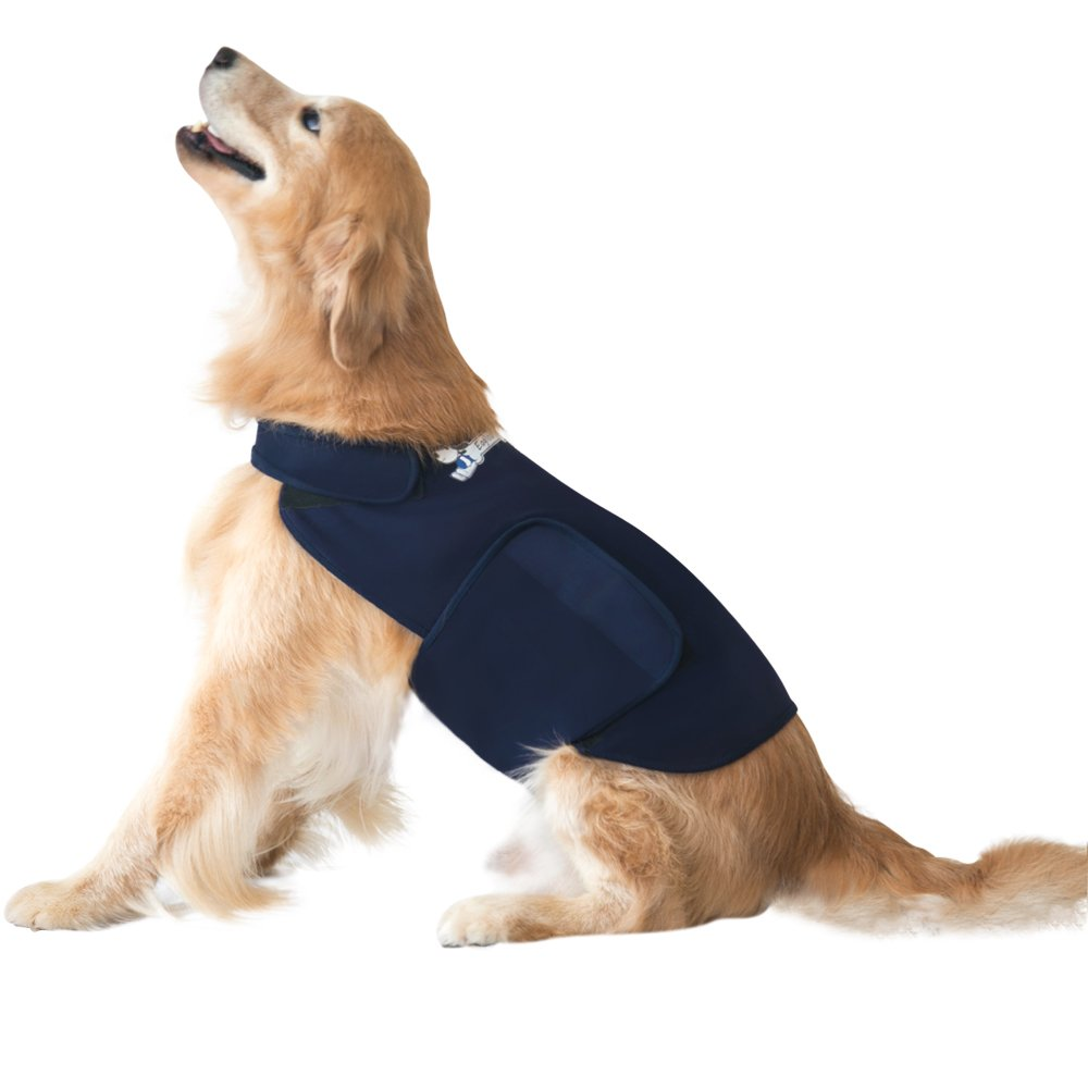 Eagloo Dog Anxiety Jacket Over Excitement Shirt Stress Relief Keep Calm Clothes Warm and Soft for Pets, Navy, Medium(17.7-26.3in.)
