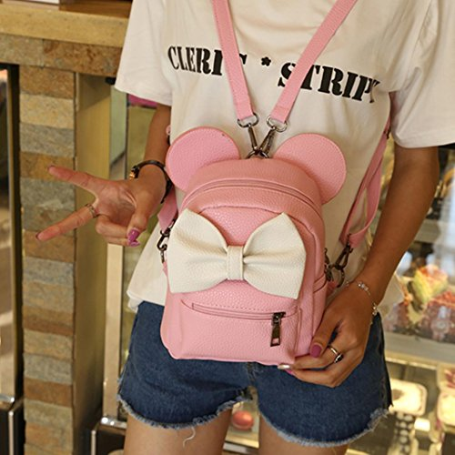 Witspace Bowtie Mickey Pink Female Mini Ear Backpack Backpack Purse Leather Women's 6aq1ZCWzq