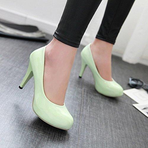 YE Damen Plateau Lack Pumps Stiletto Geschlossene High Heels mit 9cm Absatz Elegant Kleid/Büroschuhe Grün
