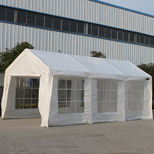 SNAIL 10 x 20 Ft Outdoor Enclosed Domain Carports Waterproof Portable Car Storage Shelter Party Tent Canopy with Heavy Duty 8 Steel Legs & Enclosure Walls, White by Snail