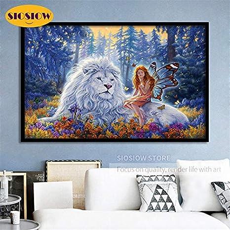 FHGFB 5D-DIY-Nuevo Diamante Pintura Bordado Punto de Cruz Pintura Animal león Blanco Rey y niña decoración Regalo sin Marco Cuadrado Diamante (40x50cm)
