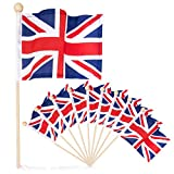 Premium 4×6 Inch UK British Union Jack English hand held flag with safety ball top 10 pack