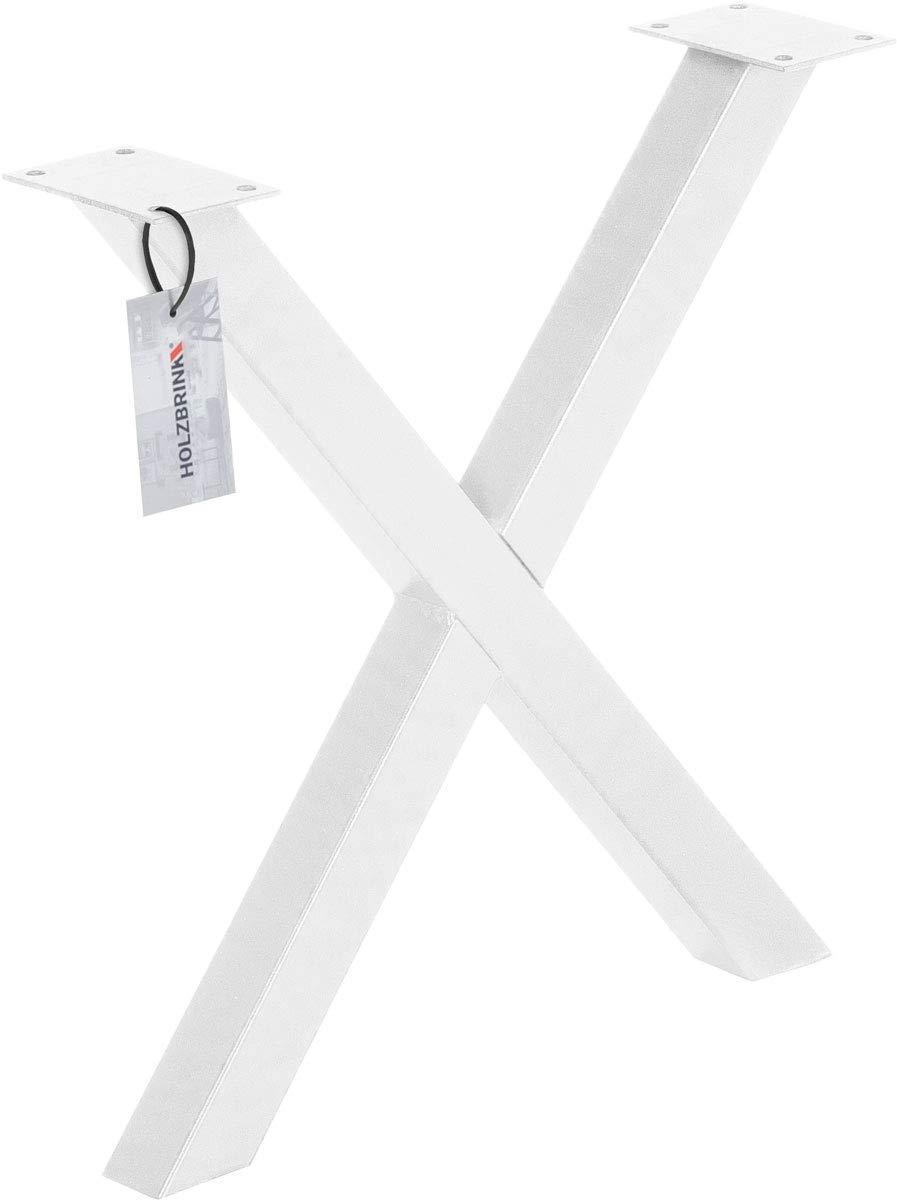 Acero pulido y lacado Tama/ño 60x72 cm HLT-03-G-CC-0000 HOLZBRINK 1x Pata de Mesa en Forma de X Perfiles de Acero 60x60 mm