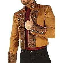 Leatherotics Tan Brown Velvet Gothic Military Men's Jacket Top Steampunk SPSS