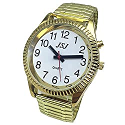 French Talking Watch with Alarm, Talking Date and time, White Dial, Expanding Bracelet