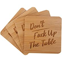Don't Fuck Up The Table Bamboo Drink Coasters   Set of 4 with Holder   Funny Housewarming Gift