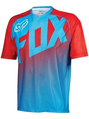 Sleeve Fox Short Jersey Flow - Fox Flow Short Sleeve Jersey Large Blue/RED