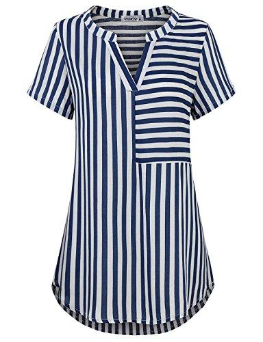 for Women, Lady Fashion Short Sleeve V Neck Career Shirts Sexy Vintage Chiffon Striped Blouses Business Casual Shirttail Hem Tunics for Leggings Royal Blue X-Large (Shirttail Hem)