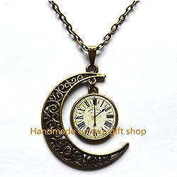 Moon Necklace, Crescent Moon Necklace, Dainty Necklace, Simple Necklace,Vintage clock - handmade Necklace - SALE, Clock Necklace, Clock - Watch Jewelry