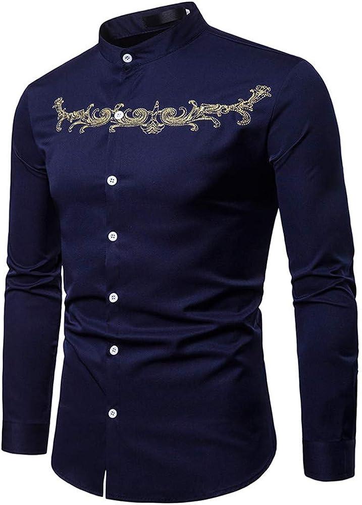 SXZG Camisa de Manga Larga de Gran Tamaño para Hombre, Camisa de Cuello Henry Bordada con Viento de Corte, Camisa de Hombre de Comercio Exterior: Amazon.es: Ropa y accesorios