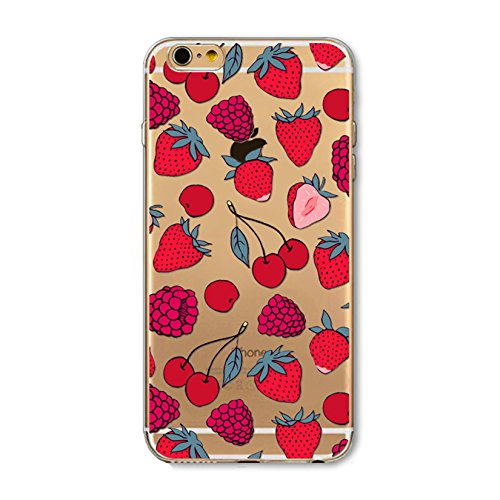(iPhone 6 / 6s Compatible, Fruit Series Designer Choice Collection Colorful Flexible Ultra Slim Transparent Translucent iPhone Case Cover - Red Juicy Cherry Strawberry Rush)