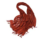 Easy Go Shopping Women's Solid Color Scarf Half Mesh Autumn and Winter Warm Shawl Scarf Fashion scarf (Color : Dark red, Size : One size)