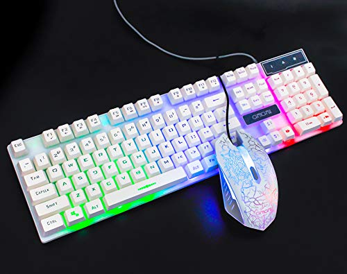 2971bad0873 CHONCHOW Gaming Wired Backlit Keyboard Mouse Combo LED Illuminated Letter  19 Anti-Ghost Keys White Opptical Mice Compatible iMac Laptop Computer  Smart ...