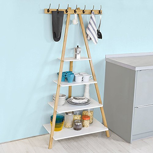 SoBuy FRG134-WN, Ladder Bookcase,Ladder Shelf,Wall Shelf,Coat Rack Storage Display Shelving Rack with 4 Shelves 7 Hooks