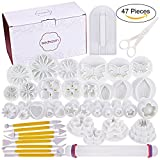 47 pcs Fondant Cutters Tools Sedhoom Catalina Fondant Molds Cake Decorating Supplies Tool Set with Rolling Pin Smoother Embosser Moulds