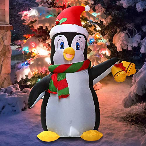 Joiedomi Christmas Inflatable Decoration 5 FT Inflatable Holiday Life-Size Penguin with Built-in LEDs Blow Up for Christmas Party Indoor, Outdoor, Yard, Garden, Lawn Décor.