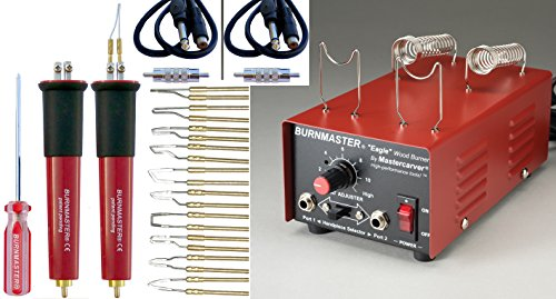 BURNMASTER Eagle 2 Port Wood Burner, 2-Pens, 10-TIPS and Bag Set for wood, leather & gourd by Burnmaster