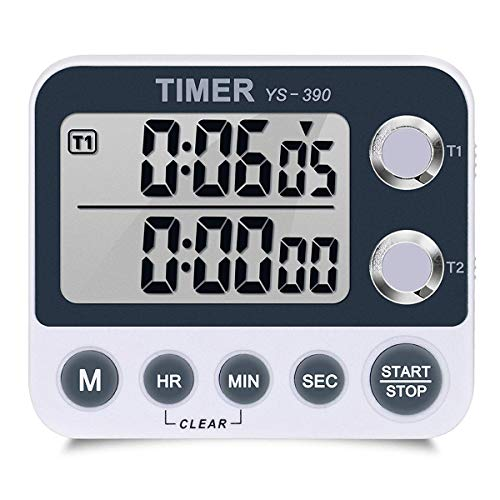 FCXJTU Digital Dual Kitchen Timer, Dual Count UP/Down Timer, Cooking Timer, Stopwatch, Large Display, Adjustable Volume Alarm and Flashing Light with Magnetic Back, Stand, Battery Included (White) ()