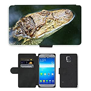Just Phone Cases PU LEATHER case coque housse smartphone Flip bag Cover protection // M00129026 Cocodrilo Cerrar reptil peligroso // Samsung Galaxy S5 S V SV i9600 (Not Fits S5 ACTIVE)