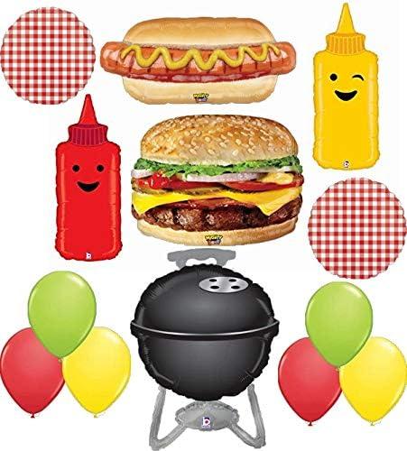 Suministros para barbacoa, picnic, fiesta, 13 piezas con hamburguesa de queso realista y decoración de ramo de globos de papel de aluminio para ketchup y parrilla: Amazon.es: Juguetes y juegos