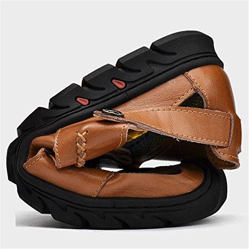 moda cuero 38 a playa verano los Sandalias exterior de de 45 cerrado MSFS tamaño Negro hombres BwzgUxxq