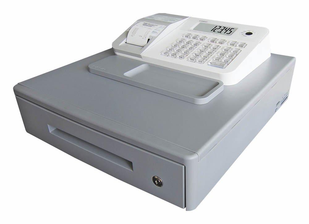 Casio SE-G1MB-WE - Caja registradora (cajón grande para dinero, impresora y pantalla para cliente), color blanco SE-G1MBW